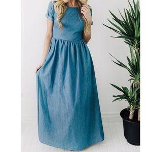 NWOT Chambray Maxi Dress